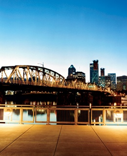 The Hawthorne Bridge over the Willamette River, in Downtown Portland.