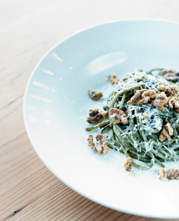 Chitarra with nettles, walnuts, and pecorino, from Clyde Common, the restaurant at the Ace Hotel, in the Pearl District.