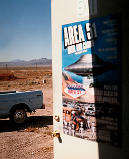 A poster on Area 51, the secret military installation, displayed at the Little A'Le'Inn, in Rachel, Nevada.