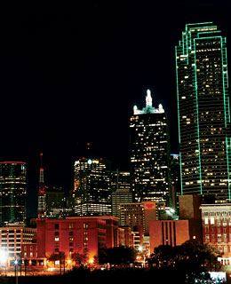 The Dallas skyline, looking southeast.