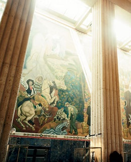 One of two three-story-high Texas history murals by Eugene Savage in the Art Deco Hall of State at Fair Park.