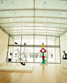 The works of Calder, Miro, and Ernst at the Nasher Sculpture Center.