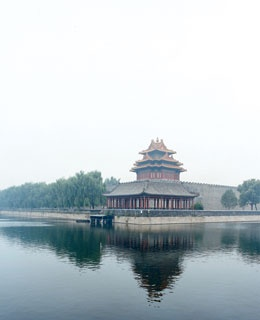 A corner tower of the Forbidden City.