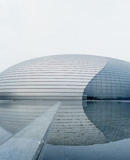 Beijing's new National Grand Theater, designed by Paul Andreu and set to open later this year.