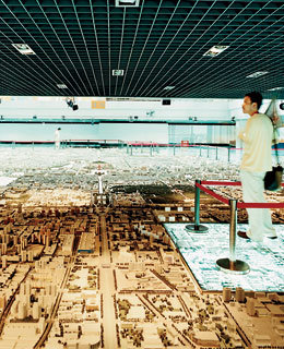 Scale model of the city at the Beijing Planning Exhibition Hall.