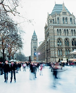 Ice skaters at London's Natural History Museum Ice Rink, in South Kensington.