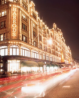 Harrods' famous twinkling lights.