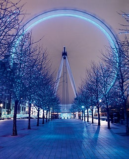 Views of the South Bank—including one of the London Eye—dressed up for the holiday season.