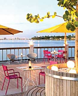 The Standard hotel's Lido Restaurant, overlooking Biscayne Bay.