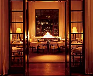 The dining room at Delano's Blue Door.