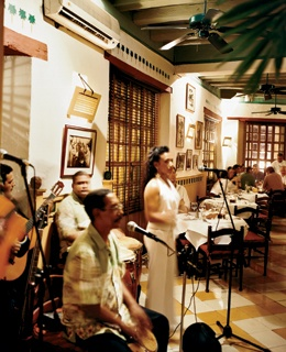 Salsa band Cuba Swing performs at La Vitrola, in Cartagena, on Colombia's Caribbean coast.