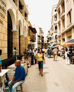 Open-air stalls on Calle Primera de Badilla.