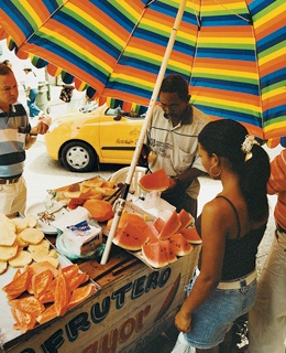 A fruit vendor, a common sight around Cartagena's old city.