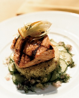 Grilled wild salmon atop couscous and shaved fennel at Post Ranch Inn's Sierra Mar restaurant.