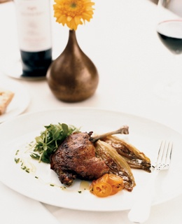 Duck confit with braised endives and candied kumquats, at Calistoga Ranch's Lakehouse restaurant.