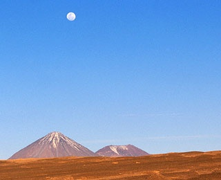the moon above The Atacama Desert, Chile