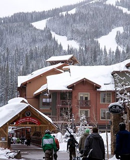 snow covered lodges and slopes in Copper Mountain, CO