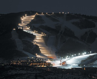 ski slopes at night in Park City Mountain Resort, UT