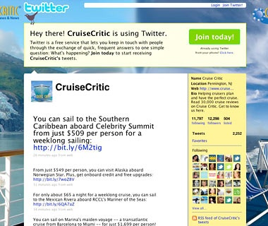 Follow Cruise Lines on Twitter