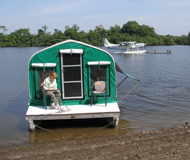 camping pontoon on the Amazon in Brazil