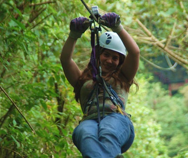 zip lining in the forest in Costa Rica