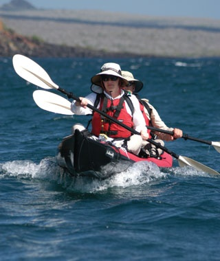kayaker on adventure in The Galápagos Islands