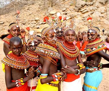 natives of local tribe in Great Rift Valley region, Africa