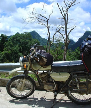 motorcycle in the country side in Vietnam