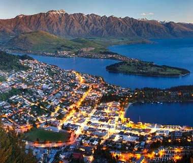 aerial view of mountain range over Queenstown, New Zealand