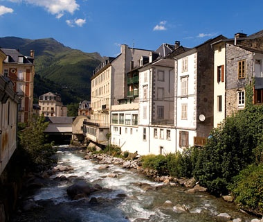 scenic mountain town in Cauterets, France