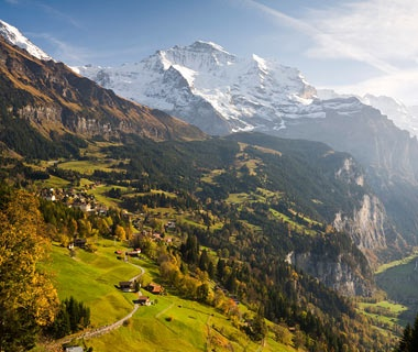 snow covered mountains over Wengen, Switzerland alps town