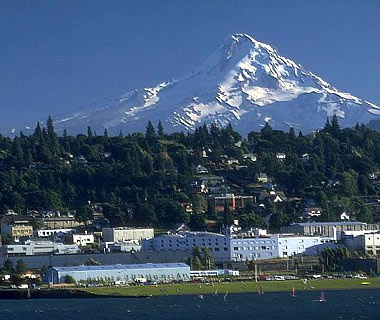 mountain town at the base of Mt. Hood in Hood River, OR