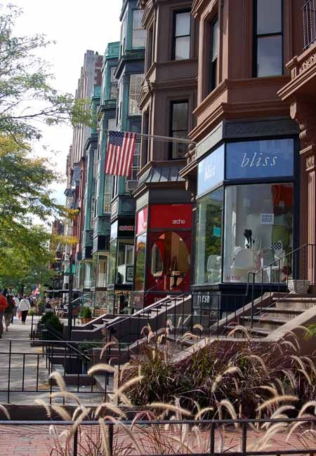 Shops along Newbury Street.