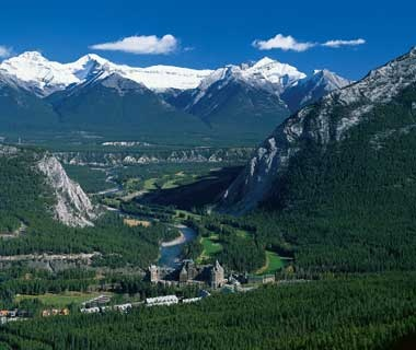 aerial view of Fairmont Banff Springs in western Canada
