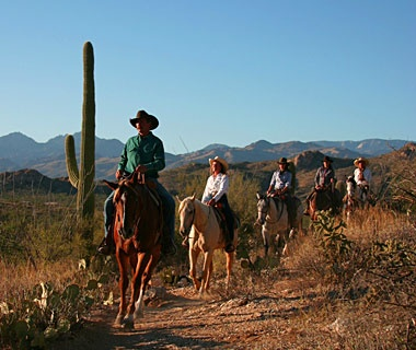 horseback riding in the desert in Tanque Verde Ranch, Tucson, AZ