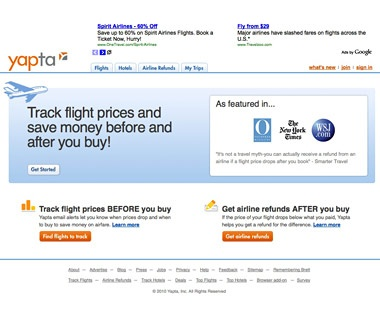Make Sure You're Getting the Cheapest Flight: Yapta.com