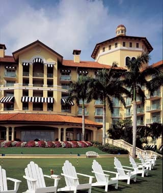 guest chairs on the lawn at Ritz-Carlton Golf Resort in Naples, FL