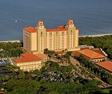 aerial view of Ritz-Carlton on the beach in Naples, FL