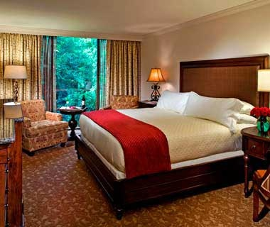 guest bed at Houstonian Hotel, Club & Spa in Houston, TX