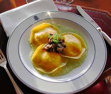 ravioli dish at Ristorante Mistral in Lake Como, Italy