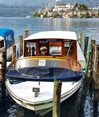 motorboat taxi at Lakes Orta and Maggiore, Italy