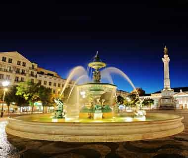 Fountain at night in Lisbon, Portugal