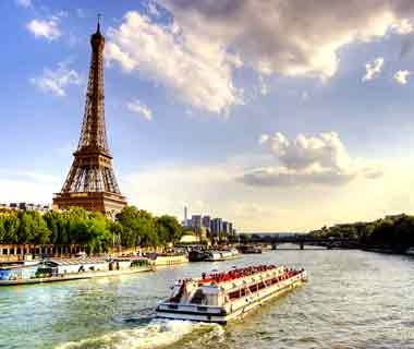 Eiffel tower along the Seine River in Paris, France