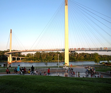 Bob Kerrey Pedestrian Bridge, Omaha, NE, to Council Bluffs, IA
