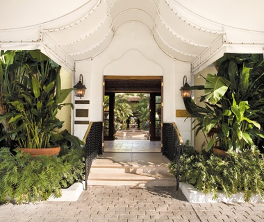 entrance of the Brazilian Court Hotel & Beach Club in Palm Beach, FL