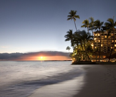 sunset at the beach in Halekulani resorts, Oahu