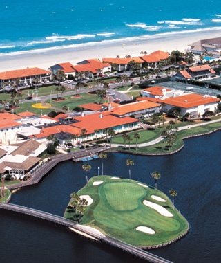 aerial view of Ponte Vedra Inn & Club beach-front hotel, FL
