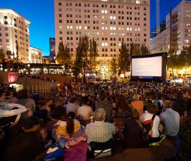 Flicks on Bricks,Pioneer Courthouse Square, Portland,OR