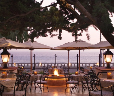 ocean view terrace at Four Seasons Biltmore in Santa Barbara, CA