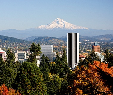 Mount Hood over Portland, Oregon